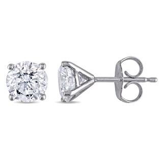 Miadora Signature Collection 14k White Gold 1-5/8ct TDW Diamond Martini-Style Stud Earrings (H-I, I2-I3)