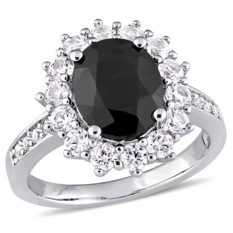 Miadora Sterling Silver Oval-Cut Black Sapphire and Created White Sapphire Halo Ring - Blue