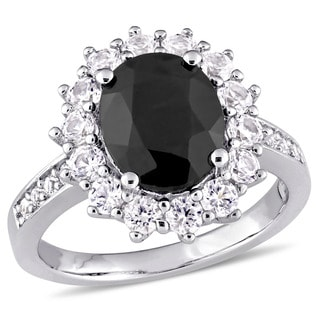 Miadora Sterling Silver Oval-Cut Black Sapphire and Created White Sapphire Halo Ring