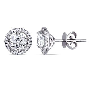 Miadora Signature Collection 18k White Gold 1 1/3ct TDW Diamond Halo Stud Earrings (G-H, SI1-SI2)