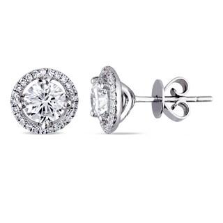 Miadora Signature Collection 18k White Gold 1 1/3ct TDW Diamond Halo Stud Earrings