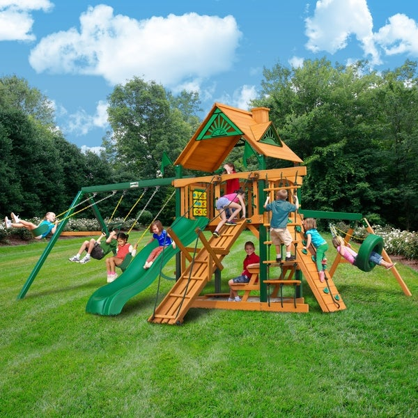 Gorilla Playsets Frontier Cedar Swing Set with Timber Shield Posts
