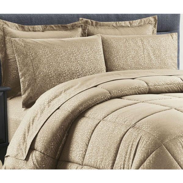 8-Piece Vine Mocha Down Alternative Bed-In-Bag