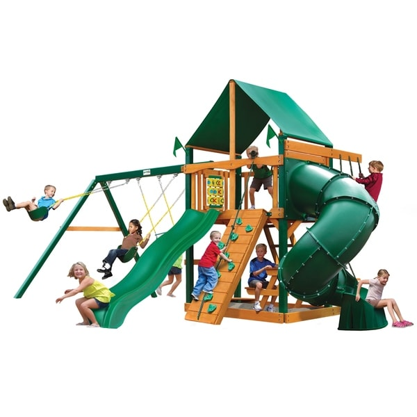 Gorilla Playsets Mountaineer Cedar Swing Set with Green Vinyl Canopy and Timber Shield Posts