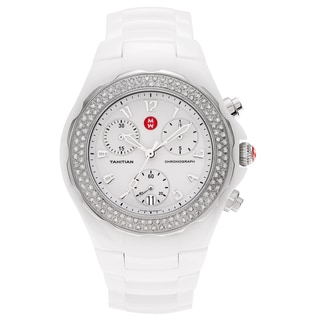 Michele Women's 'Tahitian' MWW12B000001 White Ceramic 3/4 CT TDW Diamond Chronograph Dial Link Bracelet Watch