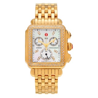 Michele Women's MWW06P000100 'Deco' Goldtone 5/8 CT TDW Diamond Mother of Pearl Dial Link Bracelet Watch