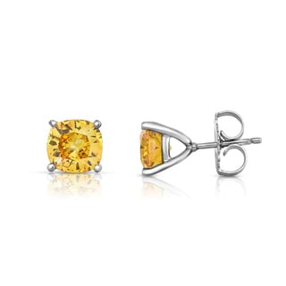 Solaura Collection 14kt White Gold 2ct TW Cushion Cut Lab-Grown Diamond Stud Earrings (Fancy Yellow, SI)