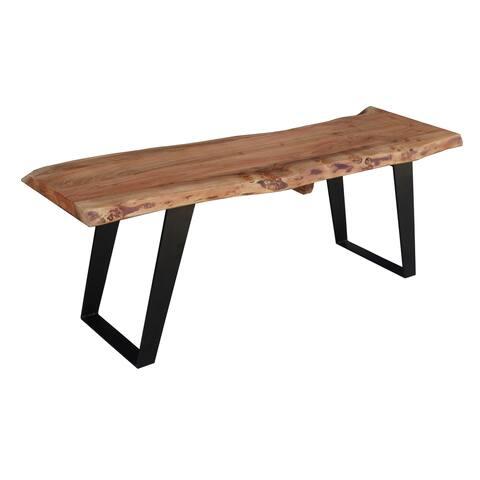 "Handmade Live Edge Wood Bench - 60"" x 16"" x 18"" (India) - 60""L x 16""W x 18""H"