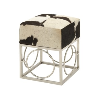 Urban Designs Cowhide and Nickel 22-Inch Accent Stool