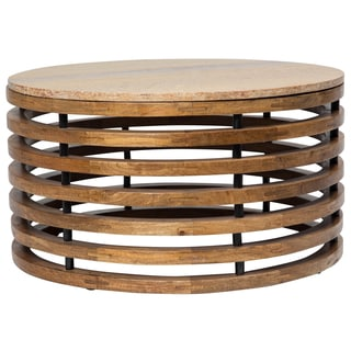 Wanderloot Guggenheim Round Marble Top and Wooden Slat Coffee Table