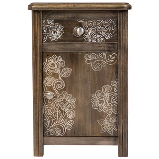 Wanderloot Flora Etched Solid Wood Floral Accent Table with 1 Drawer and 1 Door
