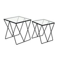 Benzara Black/Clear Metal/Glass Contemporary Accent Table (Set of 2)