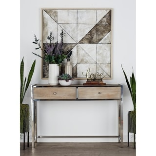 Benzara Silvertone and Brown Stainless Steel and Wood 48-inch Wide x 33-inch High Console