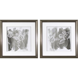 Set of 2 Grey Tulip Prints in Stainless Steel Finish Frame