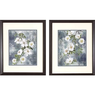 Set of 2 Dogwood Blossoms on Blue in Dark Woodgrain Finish Frame