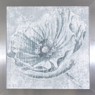 Distressed Ivory Flower in Chrome Finish Frame