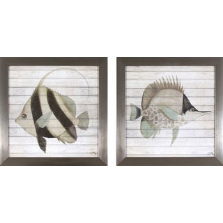 Set of 2 Rustic Fish in Stainless Steel Finish Frame