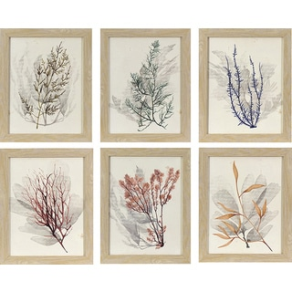 Sea of 6 Watercolor Sea Grass in Natural Oak Woodgrain Finish Frame