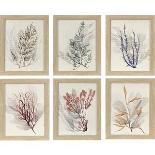Sea of 6 Watercolor Sea Grass in Natural Oak Woodgrain Finish Frame