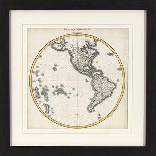 'Western Hemisphere Map' Black/ Gold Framed Wall Art