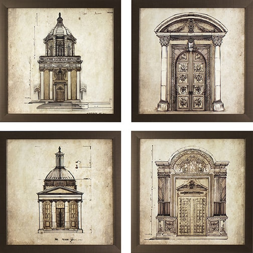 Set of 4 european architectural prints in golden bronze for Printing architectural drawings