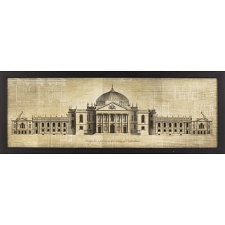 Oxfordshire Palace Blueprint in Black & Gold Woodgrain Finish Frame