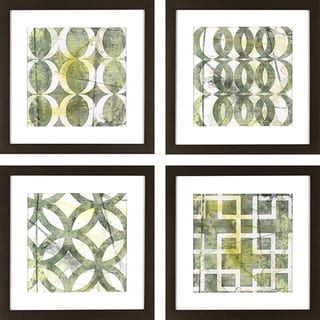 Set of 4 Green Lattice Patterns in Golden Bronze Finish Frame