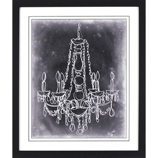 Sketched Chandelier on Black in Black Finish Frame