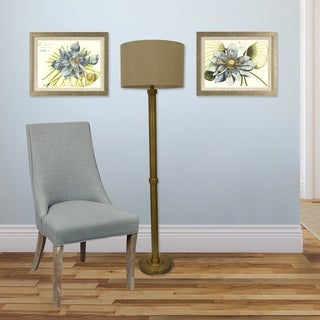 Set of 2 Blue Lotus in Distressed Silver Finish Frame
