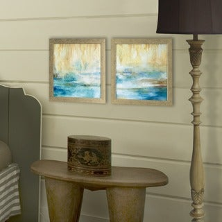 Set of 2 Turquoise Waters in Distressed Silver Finish Frame
