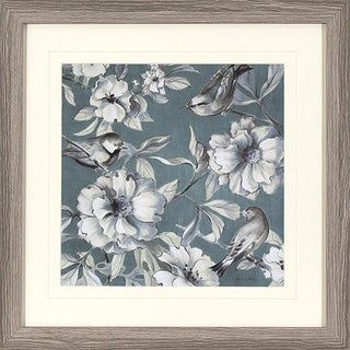 Teal Damask in Grey Oak Woodgrain Finish Frame