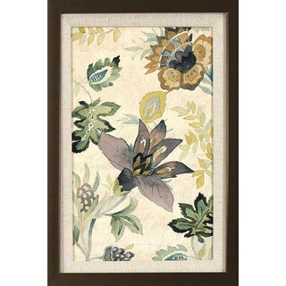 'Floral Brocade' Golden Bronze Framed Wall Art