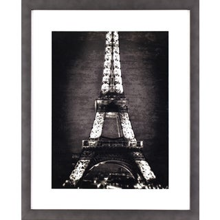 Black and White Eiffel Tower in Gunmetal Silver Finish Frame