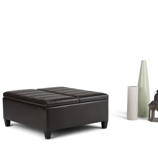 Wyndenhall Tyler Faux Leather Coffee Table Storage Ottoman