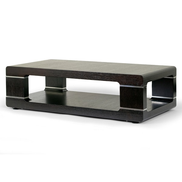 Airlie Modern Coffee Table with Silver Metal Accent Free Shipping