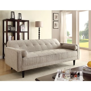Acme Furniture Edana Adjustable Sofa with 2 Pillows, Sand Linen