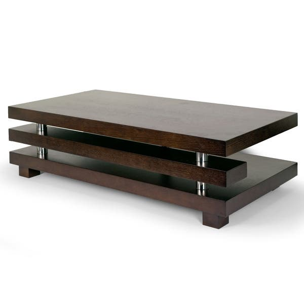 Alain Modern Coffee Table With Decorative Accent Bar Overstock 14291389