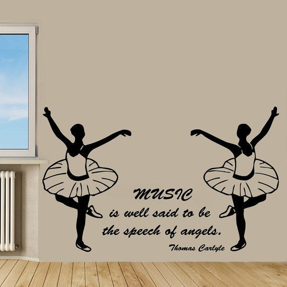 Shop Girl Dance Music Quotes Ballerina Gym Decor Vinyl Sticker Wall