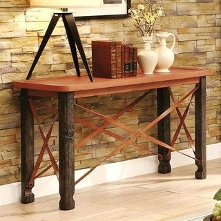 Industrial Distressed Rustic Crisscross Design Sofa Table