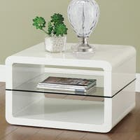 Modern Cube Design Accent Table with Glass Shelf