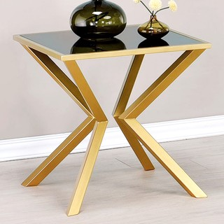 Modern Aesthetic Accent Table with Black Glass Top