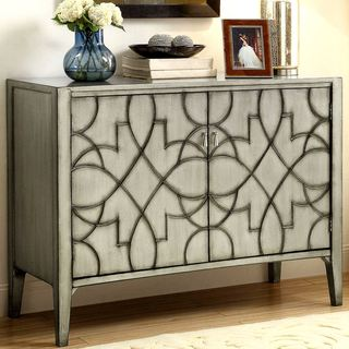 Modern Sleek Design Accent Cabinet with Carved Detailed Pattern