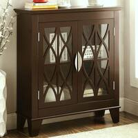Transitional Design Accent Cabinet with Decorative Glass Doors