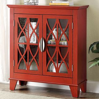 Transitional Design Red Accent Cabinet with Decorative Glass Doors