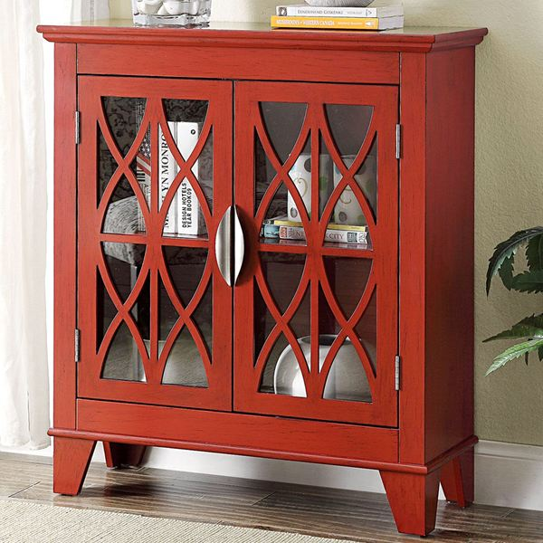 Shop Transitional Design Red Accent Cabinet With