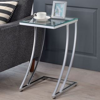 Modern Design Chrome Accent Table with Tempered Glass Top