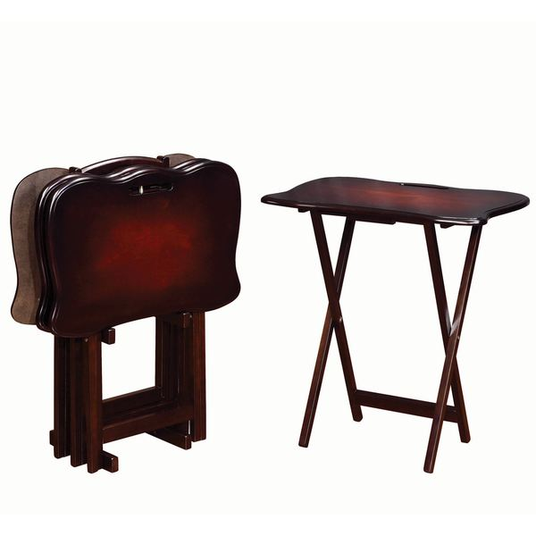 Casual 4-piece Handle TV Tray Table Set With Stand  sc 1 st  Overstock.com & Casual 4-piece Handle TV Tray Table Set With Stand - Free Shipping ...