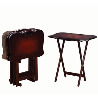 Casual 4-piece Handle TV Tray Table Set With Stand