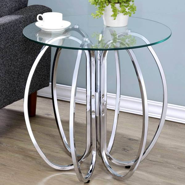 Glamorous Chrome Finish Uniquely Crafted Accent Table With Gl Top