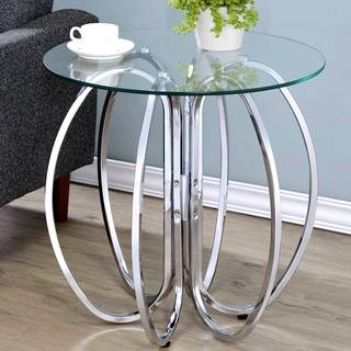 Glamorous Chrome Finish Uniquely Crafted Accent Table with Glass Top
